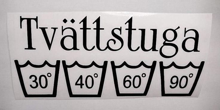 Tvättstuga Dekor 9 x 20 cm ~ Vinyl ~ Dekal ~ Inomhus ~ Utomhus ~ Tork ~ Tvätt ~