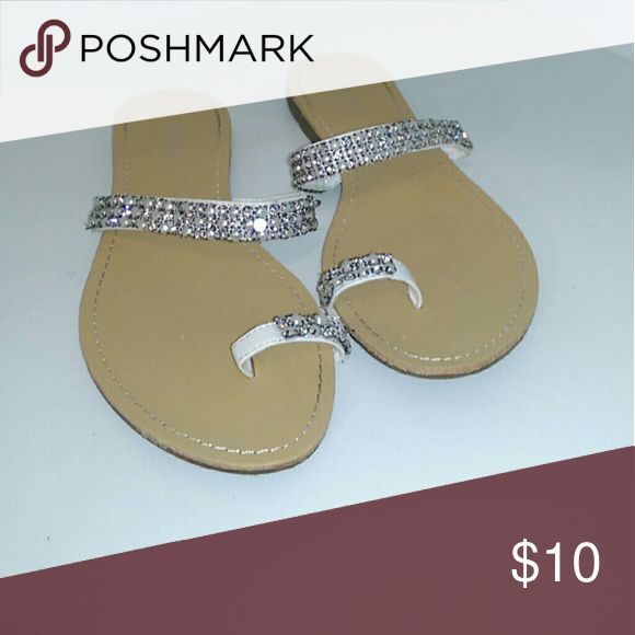 Blinged sandals White silver Brown bling sandals Shoes Sandals