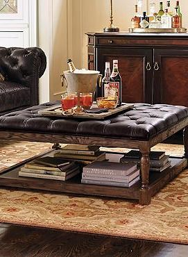 The Lucerne Tufted Leather Ottoman serves as both a comfortable place to rest your feet or perch to set a tray for refreshments or hors d'oeuvres.