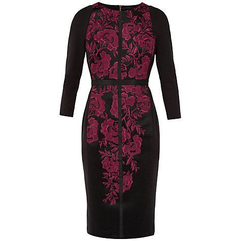 Buy Ted Baker Mirai Embroidered Bodycon Dress, Dark Red Online at johnlewis.com