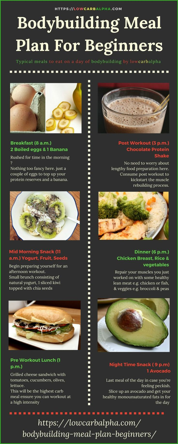 Bodybuilding Meal Plan For Beginners https://lowcarbalpha.com/bodybuilding-meal-plan-beginners/ including sample foods for a bodybuilder to eat in a day. Build muscle easier, hit your macros & record progress #cookingforbeginners