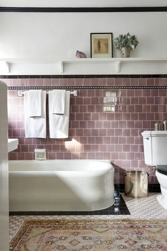 coloured tiles in lilac...