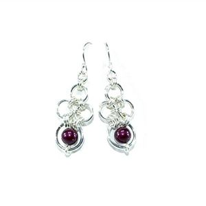 Chainmaille earrings with Swarovski pearls