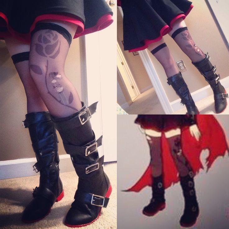 Because EVERYONE has asked….. Here is a mini tutorial on how to make @roosterteeth's RWBY season 4 Ruby tights.MATERIALS• A super awesome pattern of the rose [ HERE ] • Sharpie • Clear Nail Polish •...