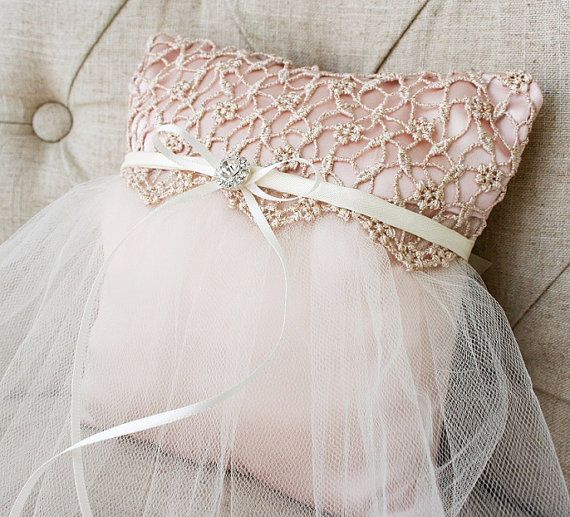 Delicate Pink Tutu Ring Pillow Tulle and Satin by LuckyYouLuckyMe, $39.00