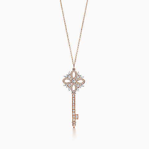 Pendente chave Tiffany Victoria™ em ouro rosa com diamantes, grande.