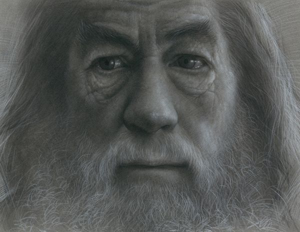 Portrait Drawing   Gandalf charcoal drawing
