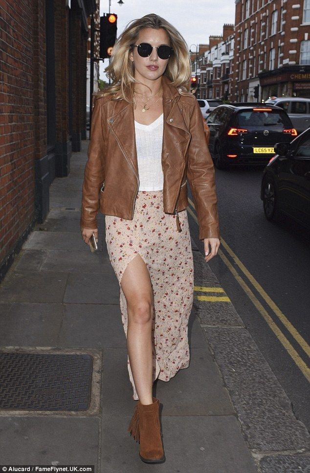 She's back: Caggie Dunlop, 27,  stepped out with her former Made In Chelsea cast mates dur...