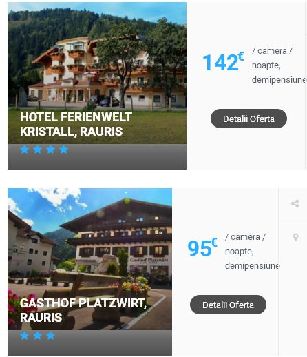 Selectie de oferte cazare la hoteluri sau pensiuni din Austria, zona montana, ideale pentru petrecerea unui sejur la ski. Tarifele afisate initial in prezentarea ofertei reprezinta cel mai mic tarif (pe noapte, loc in camera cu grad de ocupare de 2 persoane). In momentul transmiterii cererii cu mentionarea zilei de sosire si plecare, precum si numarului de persoane si camere, vi se va transmite pe email oferta cu tariful total pe intreg sejurul cu tip de masa conform oferta hotel.