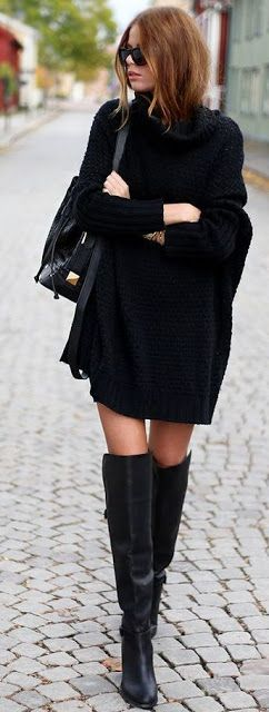 Edgy black | Turtle neck crochet sweater dress with over the knee boots