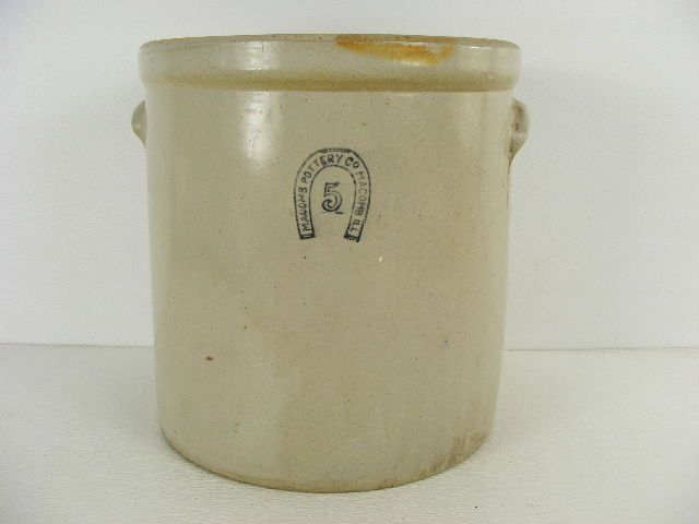 An Old Macomb Pottery Stoneware Crock With The Horseshoe