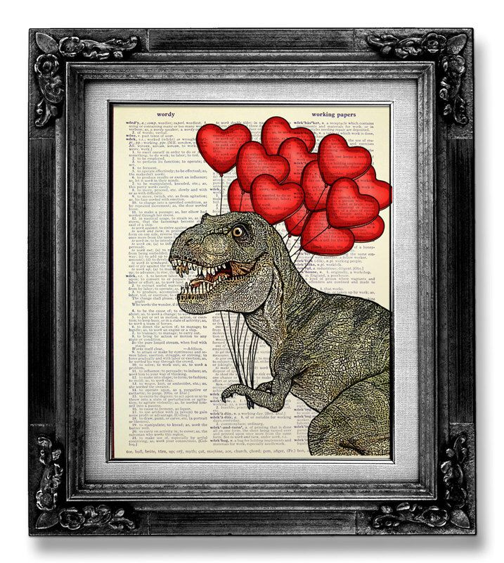 T Rex Dinosaur DICTIONARY ART PRINT Dictionary Paper, Home Office Decor, College Dorm Decor, Fun Dinosaur Wall Art Painting with Red Balloon by GoGoBookart on Etsy https://www.etsy.com/listing/161344839/t-rex-dinosaur-dictionary-art-print