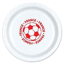 """France  Football 9"""" Plates. Great to keep to the French theme during Euro 2016 to serve food and can be matched with any tableware. http://www.novelties-direct.co.uk/France-Football-9-Plate.html"""