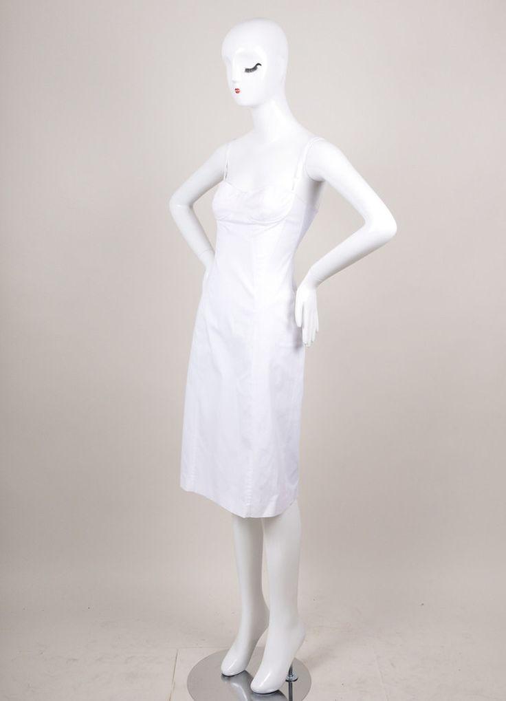 White Spaghetti Strap Cotton Bodycon Dress