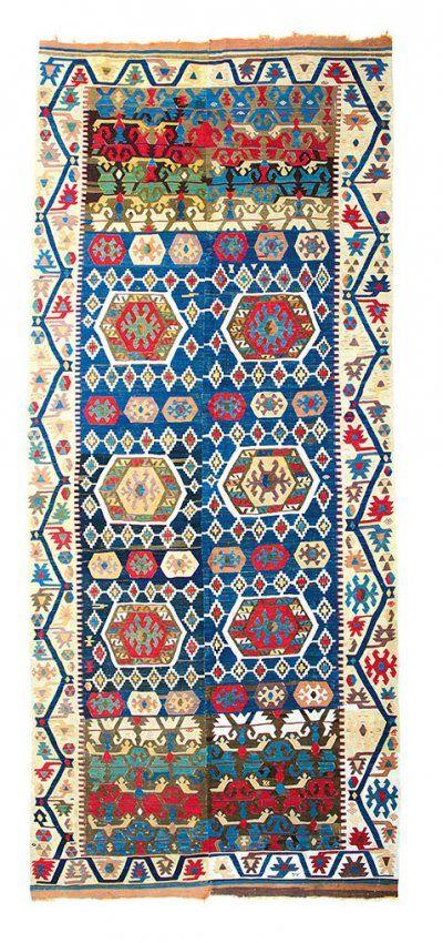 Antique Anatolian Turkish Hotamis Kilim, Konya (Central Anatolia), Turkey.