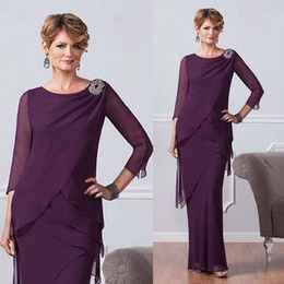 Custom Made Purple Mother Of The Bride Dresses Chiffon Scoop 3 4 Sleeves Mermaid Mother Dress Ankle Length Tiered Evening Gown