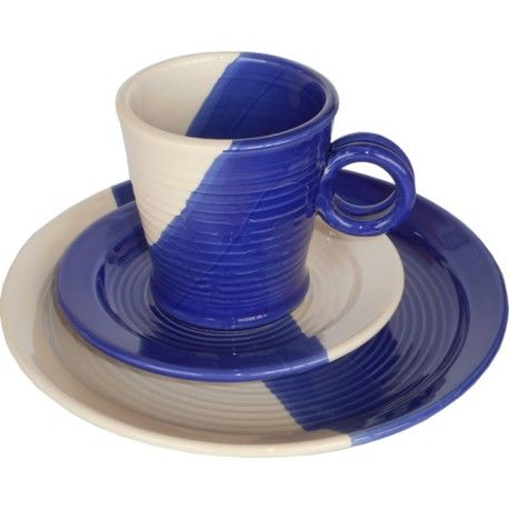 set cafe, plate d=20 + saucer + cup, lead-free, handmade by Tinos-Ceramics