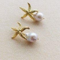 Orecchini argento 925 pl oro con stelle marine e grandi perle barocche