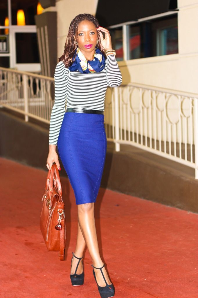 Cobalt blue pencil skirt, striped top, patterned scarf