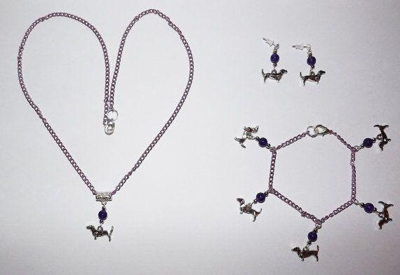 B.Long Necklace Earring & Bracelet Set   Dachshund by KasumiCrafts