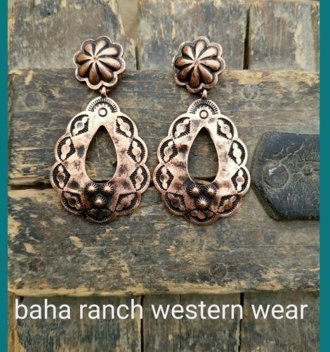 Cowgirl Bling Gypsy Concho  EARRINGS copper tone  southwestern western