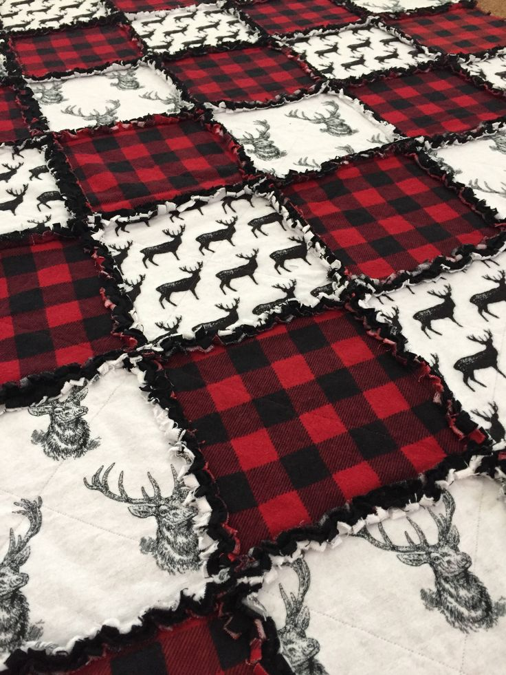 FREE SHIPPING! Deer Rag Quilt with Buffalo Plaid, Stag Blanket, Buck Bedding, Hunting Bedroom, Outdoor Themed Blanket, Mountain Rag Quilt by FergsNest on Etsy https://www.etsy.com/listing/529864093/free-shipping-deer-rag-quilt-with
