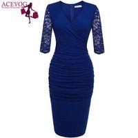 ACEVOG Angvns Kadın Kalem Elbise Çiçekli Dantel Midi Fırfır bandaj Bodycon Parti Elbise vestido de festa Mavi, Siyah M/L/XL/XXL