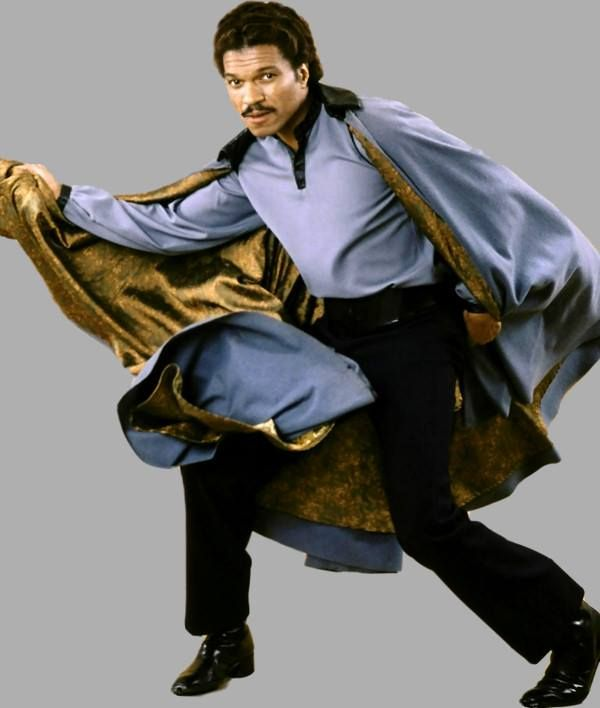 """Billy Dee Williams as Lando Calrissian.  A fictional character in the Star Wars universe. He is portrayed by Billy Dee Williams in Star Wars Episode V: The Empire Strikes Back and Star Wars Episode VI: Return of the Jedi. He also appears frequently in the Star Wars """"Expanded Universe"""" of novels, comic books and video games, including a series of novels in which he is the primary protagonist."""