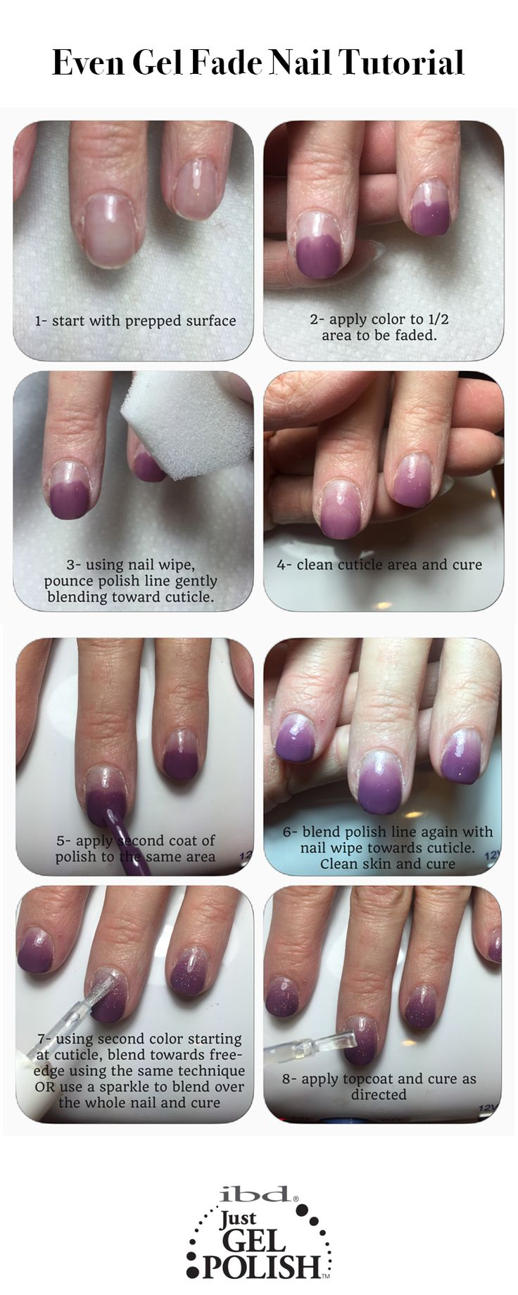 Even Gel Fade Ombre Nail Tutorial Using Sweet Sanctuary And Fireworks Justgel Polish Ibd