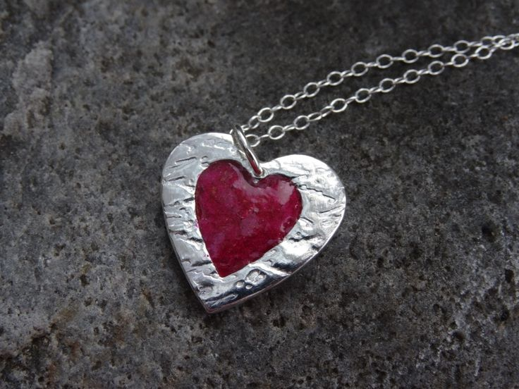 Heart Necklace   Silver and Red   unique birthday present gift for girlfriend  Anniversary Present Christmas stocking filler (23.50 GBP) by SilverWindsJewellery