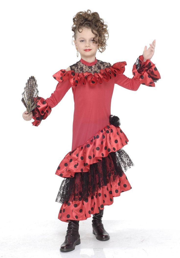 Déguisement danseuse flamenco enfant fille : Ce déguisement de danseuse de flamenco pour fille se compose d'une robe rouge (chaussures et éventail non inclus). Des volants à pois et en dentelle noire sont...