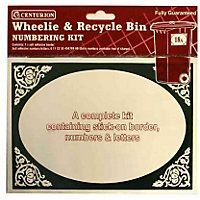 Wheelie and Recycle Bin Numbering Kit - Green and White