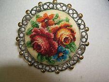 "Vintage Pin Needlepoint Petite Floral Rose Metal Scroll Work Border 1 1/2"""