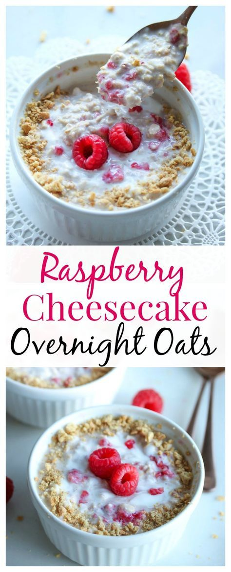 A decadent dessert turned into a nutritious breakfast. Raspberry cheesecake overnight oats!
