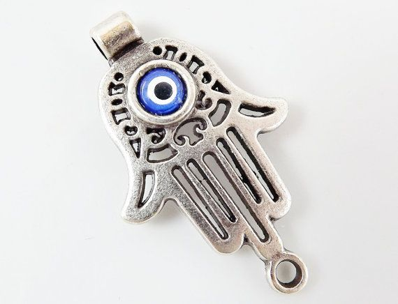 Hamsa Hand of Fatima Connector with  Evil Eye  by LylaSupplies, $4.80
