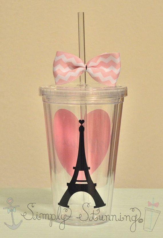 Vaso de acrílico de París. París amor 16 por SimplyStunningSite