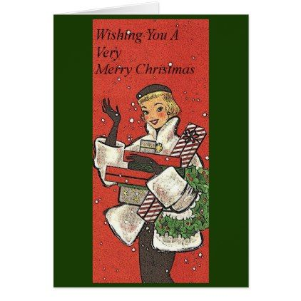 Vintage Style Wishing You a Merry Christmas Card - merry christmas diy xmas present gift idea family holidays