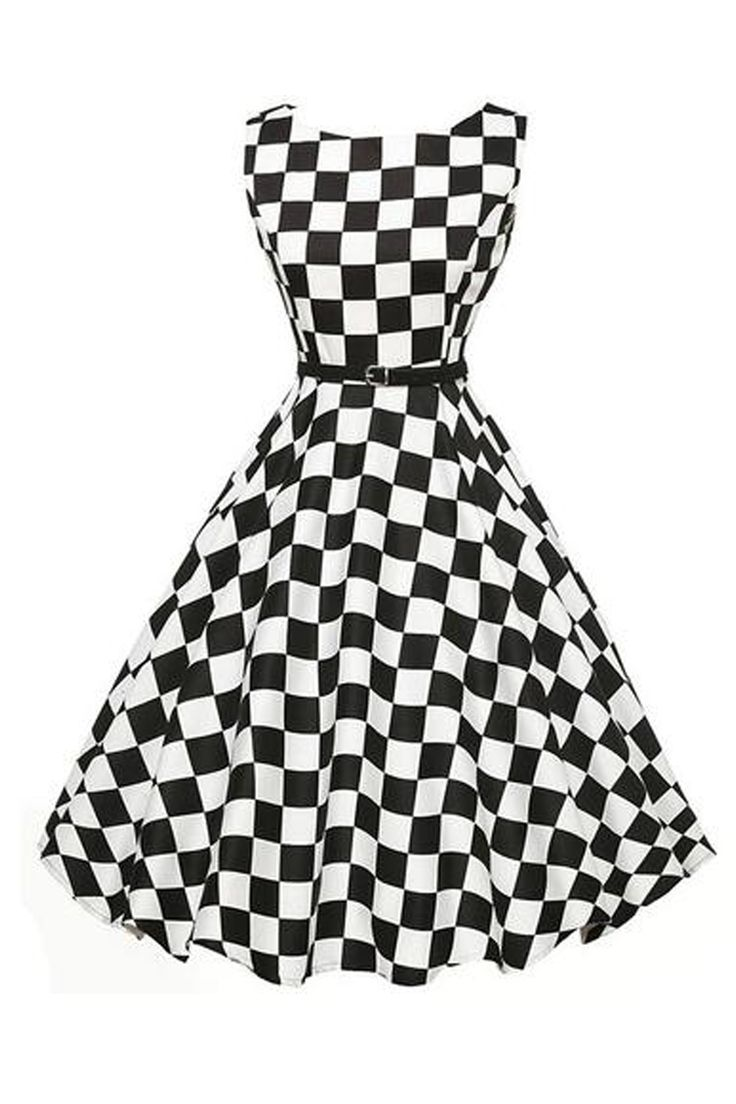 The Atomic Jane 1950's Rockabilly Black and White Check Dress is a sleeveless design with a Vintage inspired black and white check print, a modest bateau neckline, hidden back zipper closure and a removable black belt. https://atomicjaneclothing.com/products/atomic-jane-1950s-rockabilly-check-dress