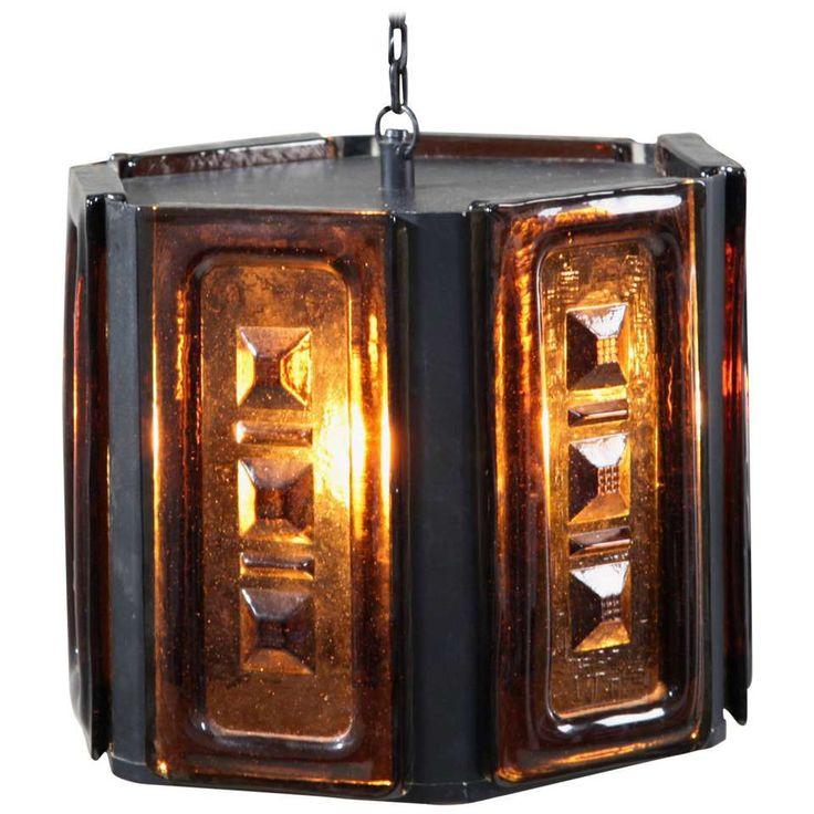 Erik Hoglund Hexagonal Dark Brown Glass Pendant, Sweden 1960s 1