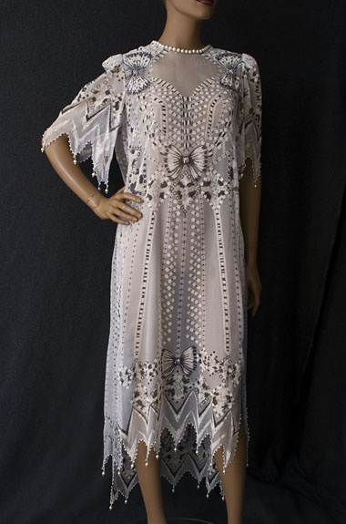 Zandra Rhodes printed chiffon dress, 1980s, from the Vintage Textile archives.