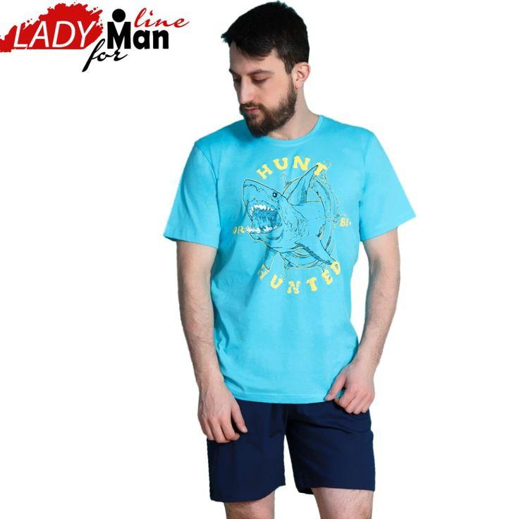 Poze Pijama Barbati Maneca Scurta Pantalon Scurt, Model 'Hunt Or Be Hunted', Material Bumbac 100%, Culoare Albastru, Brand Gazzaz by Vienetta, Pijamale Barbati Vara