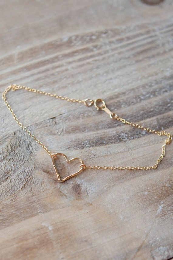 Gold Hammered Heart Anklet - 14k Gold Filled - Simple Anklet - Valentine's Day Gift