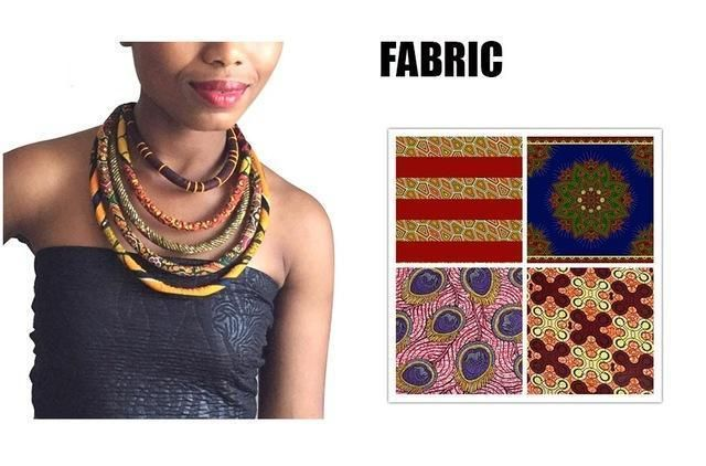 Ankara Knot African Wax Print Colorful Necklace fashion accessories.