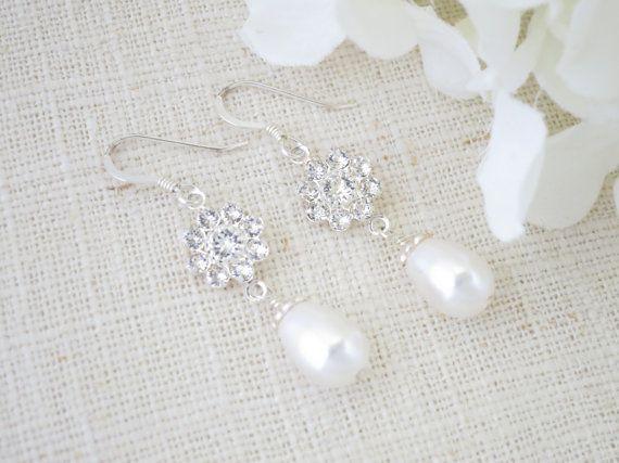 Swarovski Strass und Perlenohrring, Pearl Teardrop Hochzeit Ohrringe, Crystal und Braut Perlenohrring