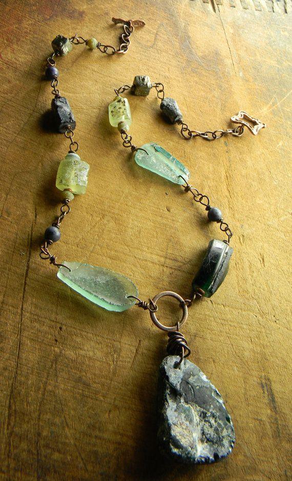Blue Roman Glass Pendant Necklace Aqua Rustic by ChrysalisToo, $94.00
