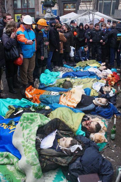 Dead anti-government protesters in Kyiv, Ukraine. 20th February 2014