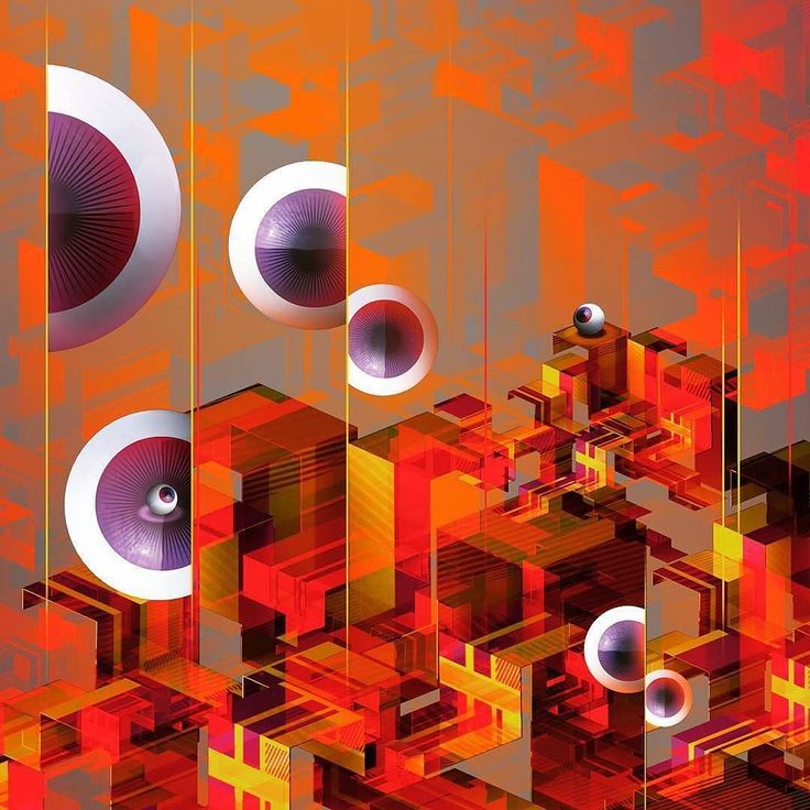 """By @amkdirector  Very old concept from 2010 for """"cyclope festival"""" #eyecandy #eyes #eye #geometric #artofvisuals #artdirection #digitalart #conceptart #isometric #warm #red #cyclops #eyeball #3dsmax"""