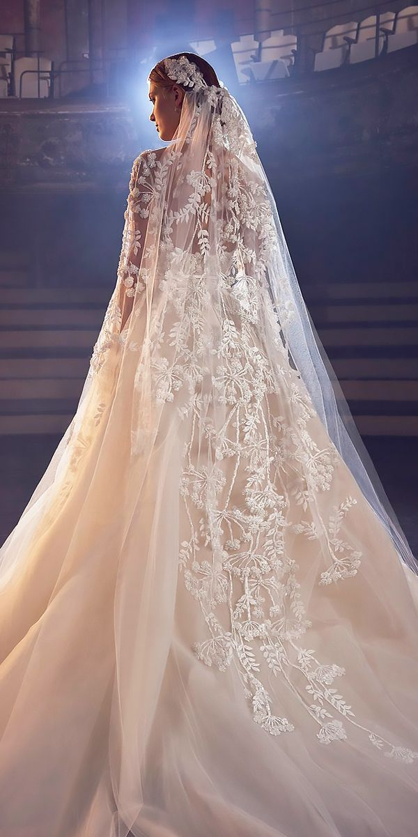 New York Fashion Week - Wedding Dresses Fall 2018 ❤️ wedding dresses fall 2018 nude lace a line with veil long sleeves elie saab ❤️ Full gallery: https://weddingdressesguide.com/wedding-dresses-fall-2018/ #bridalgown #weddingdresses2018