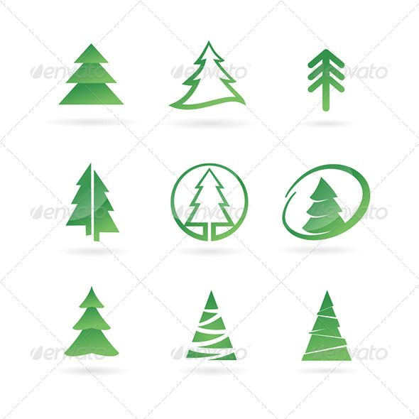 Pine Tree Icons — Vector EPS #pine #tree • Available here → https://graphicriver.net/item/pine-tree-icons/5770011?ref=pxcr