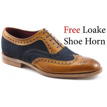 Loake Mens Thompson Two-tone brogue shoe made from contrasting calf and  suede leathers, made in India.